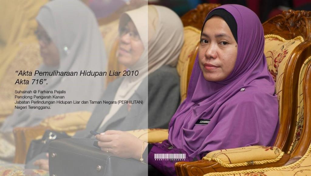 Taklimat Akta Pemuliharaan Hidupan Liar 2010 (Akta 716) yang disampaikan oleh Pn. Suhainah @ Farhana binti Pejalis, Penolong Pengarah Kanan Jabatan Perhilitan Negeri Terengganu.